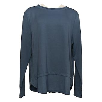 Cuddl Duds Women's Top Lighweight Pullover w/ Rib Detail Blue A453783
