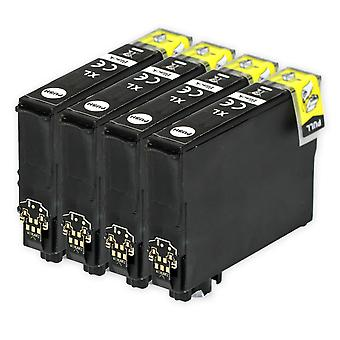 4 sorte blækpatroner til udskiftning af Epson 502XLBk-kompatibel/ikke-OEM fra Go Inks