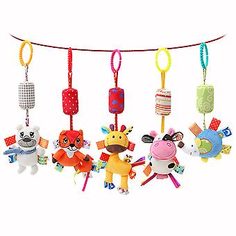 5pcs Colorful Animals Baby Hanging Toys Children Rattle Toys With Chimes Soft Plush Rattling Doll