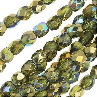 Tjeckiskt eldpolerat glas, fasemade runda pärlor 4mm, 40 stycken, Olivguld regnbåge