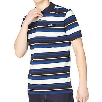 Navy Multicolour Block Striped Polo Shirt