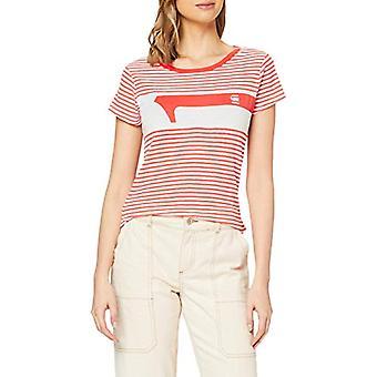 G-STAR RAW Litmic One Slim T-Shirt, Multicolored (Milk/Acid Orange Stripe 9024-B278), Small Woman