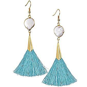 KYEYGWO - Kvinnors örhängen med tofs, boh mien med kristalltråd och Liga, färg: Blau Schale Ohrhanger, torsk. ZIQUANDE0003520