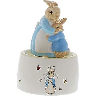 Statuetta musicale in ceramica mrs rabbit e peter rabbit