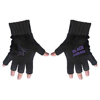 Black Sabbath - Logotipo púrpura y guantes sin dedos para diablo