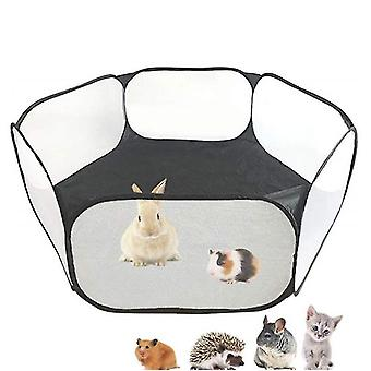 Guinea Pig Cage Rabbit Cage , Pet Play Yard Fence Portable Tent(Black)