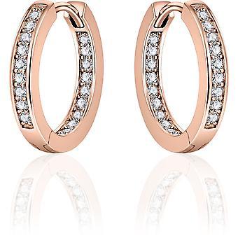 Bijoux Gisser - Boucles d'oreilles - Boucles d'oreilles avec charnière - Aplati en zircone à l'extérieur et à l'intérieur - 3mm de large - 20mmØ - Argent plaqué or rose 925