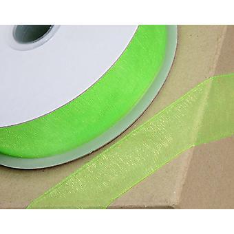 25m Apple Green 10mm Bred Vävd Edge Organza Band för hantverk