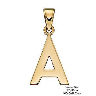 "HS Johnson HSJ-GP2200 Women's 9ct Gold ""A"" Pendant With Chain"