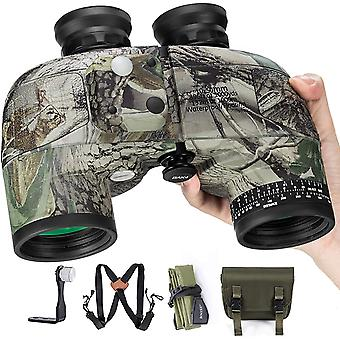 10x50 binoculars for adults wildlife observation safari built-in compass and rangefinder with chest strap, military marine camouflage color, waterproof, high-performance telescope,(Camouflage)