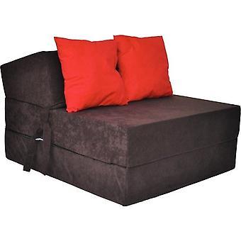 Materasso letto di lusso - marrone - materasso da campeggio - materasso da viaggio - materasso pieghevole - 200 x 70 x 15 - con cuscini rossi
