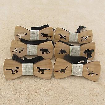 Children Neck Wear Wooden Dinosaur Bow Tie