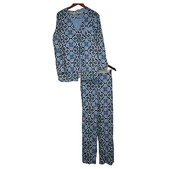 Aria Women's Printed Jersey 3 Piece Pajama Set Blue 637165