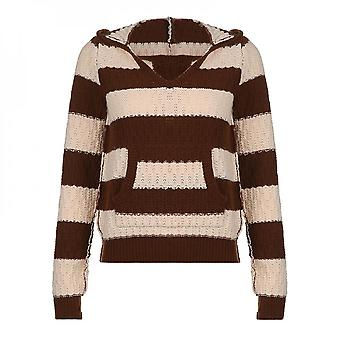 Womens Striped Stitching Pullover Autumn Winter Long Sleeve Sweater