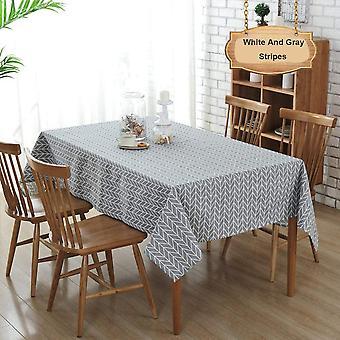Rechteckige Tischdecke aus Baumwolle und Leinen, staubdichte Tischdecke, Küchentisch und 140x140cm Tischdecke (weiße und graue Streifen)