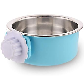 Rostfritt stål avtagbar hundskål, hängande pet bowl bur, liten vattenskål, husdjurstillbehör, blå