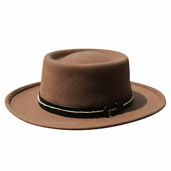 Chapéu de lã de outono e inverno chapéu de anel feminino chapéu com big brim moda britânico flat top cartola