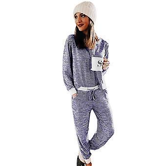 Striped Split Neck Button Contrast Trim Christmas Pajamas Set