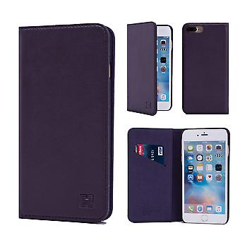 32 ° Real classic Leather Wallet per Apple iPhone 7 Plus / iPhone 8 Plus - melanzana