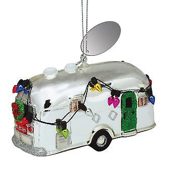 Zilveren Camper ingericht voor vakantie geblazen glazen Christmas Ornament