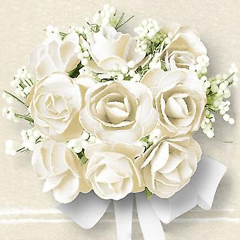 Ambiente 3 Ply Paper Lunch Napkins, White Roses