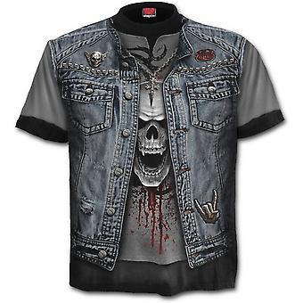 Spiraal-thrash metaal-wikkel rond korte mouw t-shirt.