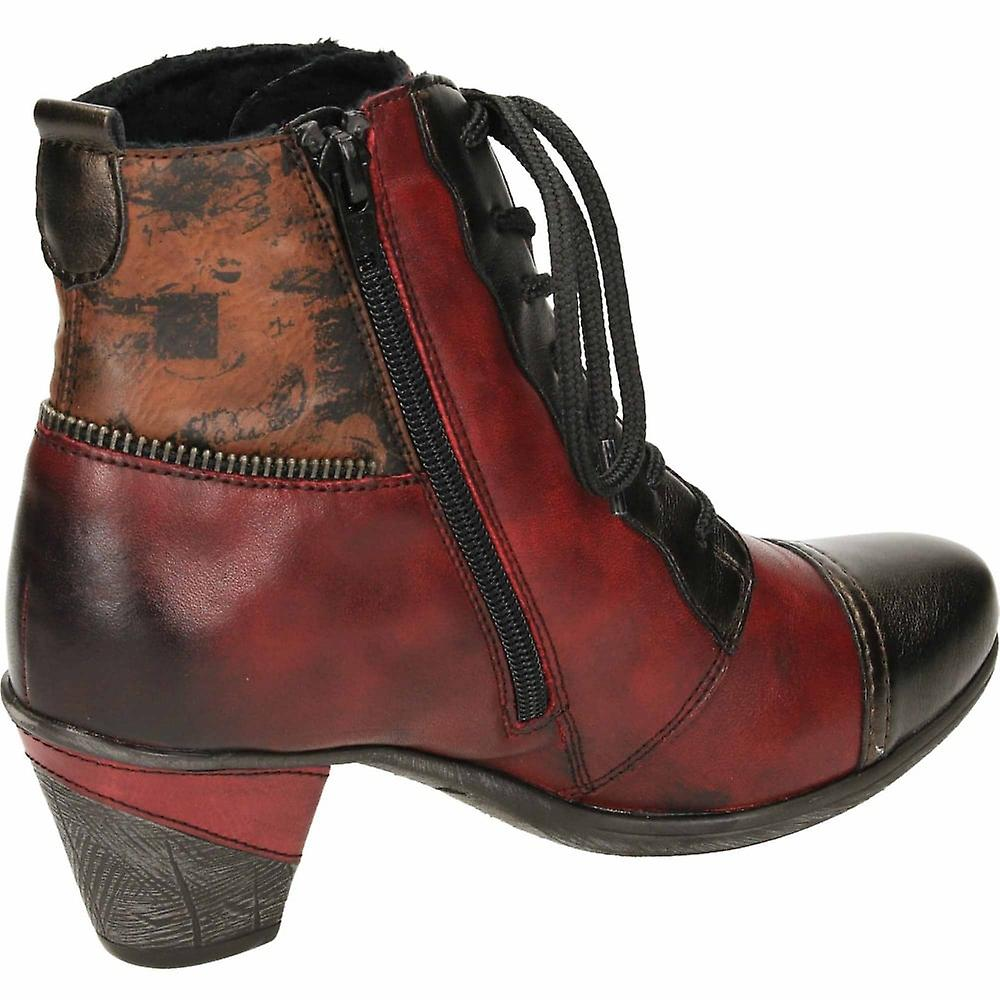 Remonte Red Leather Multi Coloured Metallic Ankle Boots Mid Heel Lace Up Zip Cushioned D8782-35