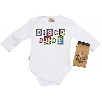 Spoilt Rotten DISCO DUDE Baby Grow 100% Organic In Milk Carton