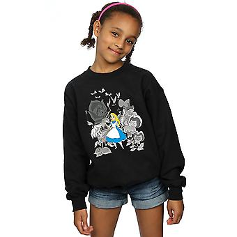 Disney Girls Alice In Wonderland Flowers Sweatshirt
