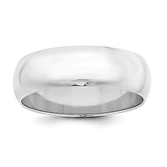 925 Sterling Silver Solid Polished Half Round Engravable 7mm Half-Round Band - Ring Size: 4 to 13.5