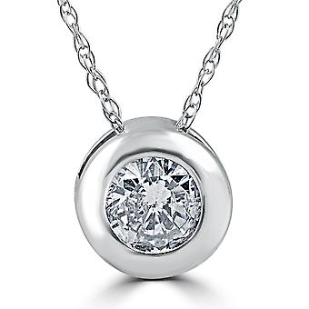 1 1 / 2ct lunetta solitario diamante 14k collana