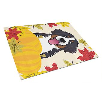 Bernese Mountain Dog Thanksgiving Glass Cutting Board Large