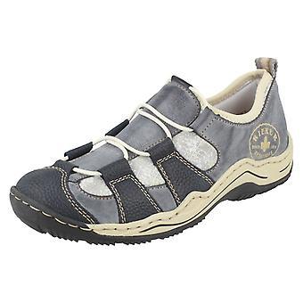 Damen Rieker Casual Schuhe L0582-14 - blaue Kombination Kunststoff - UK Größe 6,5 - EU Größe 40 - Größe 8,5