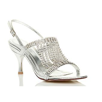 Ajvani naisten puolivälissä korkokenkiä slingback diamante Häät morsiamen prom draped Sandaalit kengät