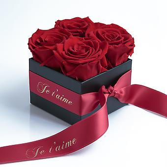 Je t'aime box with 4 dark red and satin ribbon roses preserved stable 3 years