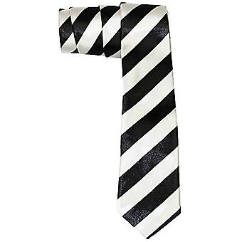 Slim satin tie - DIAGONAL black / silver