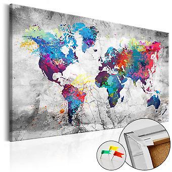 Afbeelding op kurk - World Map: Grey Style [Cork Map]