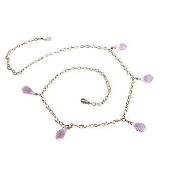 Morganite chain gemstone drop necklace gold plated gemstone necklace pink