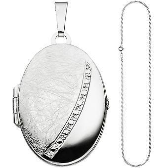 Oval pingente medalhão para abrir para 2 fotos: colar de prata 925 50cm