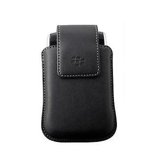 OEM BlackBerry Vertiklan synteettinen kotelo pussi kääntyvä kotelo tasku lamppu 9800-musta