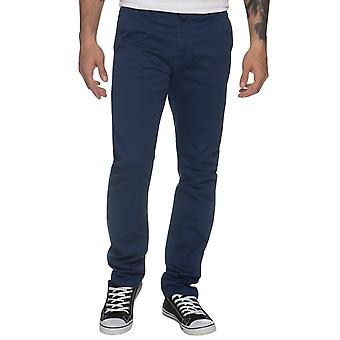 Mens Tapered Fit Blue Stretch Chinos | Enzo Designer Menswear