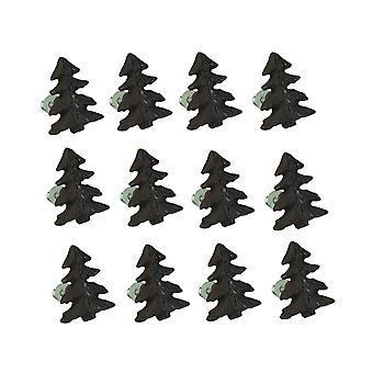 صنوبر غابة بني ريفي شجرة 12 قطعة الحديد الزهر درج سحب مجموعة