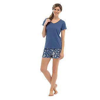 Ladies V-Neck Jersey topp & fjäril Print Shorts sommaren pyjamas pyjamas sovplagg