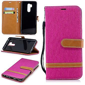 LG G7 telefon ärm skyddande väska fall täckkort fack Etuis bok-stil rosa