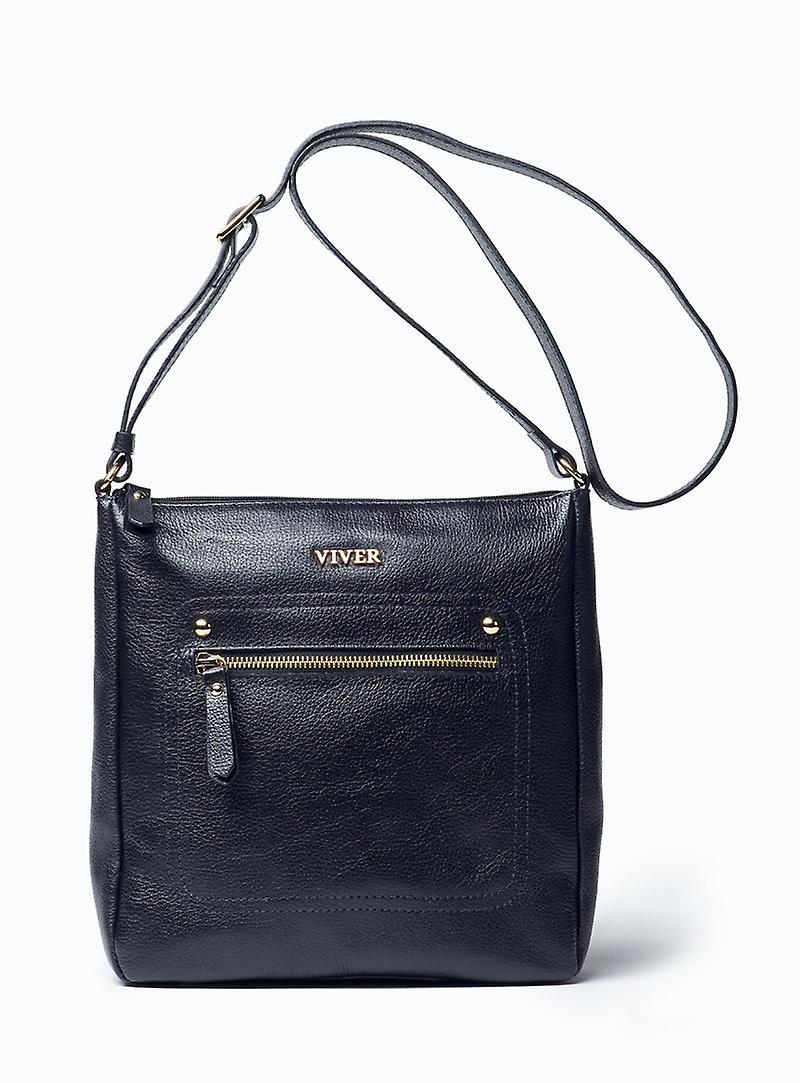 Viver Isa Black Leather Crossbody Bag