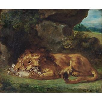 Lion Devouring a Rabbit, Eugene Delacroix, 47x56cm