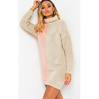 IKRUSH Womens Colleen Knitted Two-Tone Jumper Dress