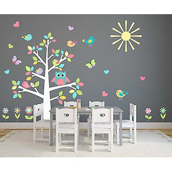 Värillinen pastelli pöllö puun lastentarha tarra seinä tarra