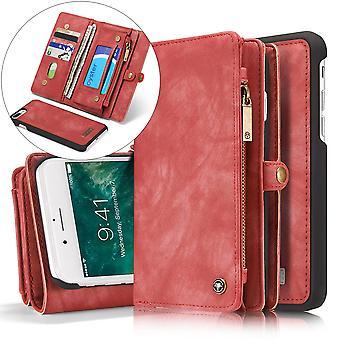 CASEME iPhone 7 Plus Retro Split Leder Brieftasche Fall-rot
