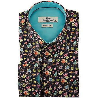 Claudio Lugli Navy Multi Floral Print Mens Shirt
